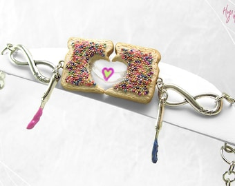 Friendship Bracelets, Fairy Bread Bracelets, Set of 2 Personalized, Best Friends Jewelry,Polymer Clay,Kawaii Jewelry, 100 & 1000's sprinkles