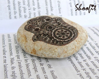 Hamsa,Jerusalem stone,Khamsa,Judaica, Israel stone,Stone of Israel, Israel gift ,Hand, Holy Land, personalized stone