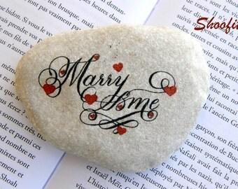 Marry me, Marry me stone, wedding proposal,engagement,Jerusalem stone,Israel stone,written on a stone, stone art, stone on shelf, stone gift