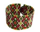 Cuff Bracelet, Wide Beaded Bracelet, Peyote Cuff, Beadwoven Bracelet, Beadwork, Seed Bead Cuff, Gift For Her, Beaded Cuff, Green Bracelet