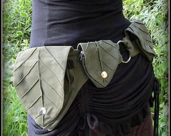 Leaf Utility Pocket belt ~ Festival Belt Forest Fantasy Fairy ~ Legend of Zelda Cosplay LARP ~ Green Brown Black Canvas ~ Small to XL