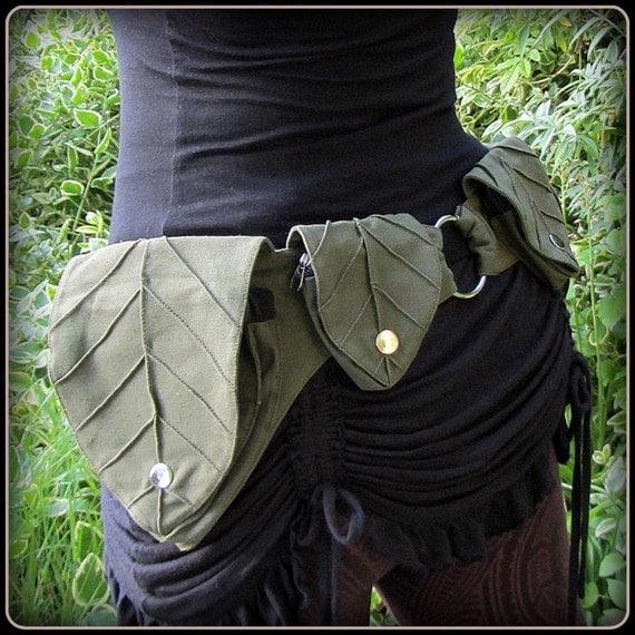 Leaf Utility Pocket belt ~ Festival Belt Forest Fantasy Fairy ~