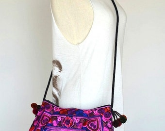 Thai Hmong Hill Tribe Sling Bag Boho Flower Hearts Birds with Embroidery SHE37