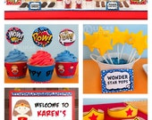 Wonder Gal Birthday Party - DIY PRINTABLE Personalized Package FULL Collection - H7a