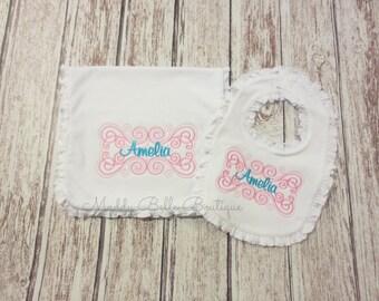 Flourish Monogram Ruffle Bib and Burp Cloth Set - Baby Ruffle Bib, Baby Ruffle Burp Cloth, Baby Girls, Monogram Bib, Monogram Burp Cloth