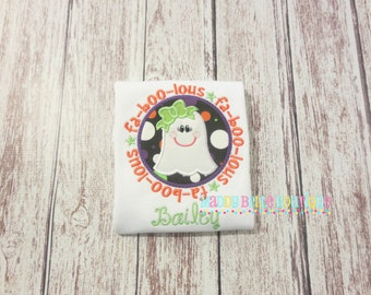 Fa-Boo-Lous Ghost Appliqued Shirt - Embroidered, Personalized, Monogram, Faboolous, Girly Ghost Shirt, Halloween