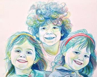 WATERCOLOR CHILDREN custom PORTRAIT from photo, Gift for grandparents, Special gift, custom gift, for mom, for dad, father gift mother gift