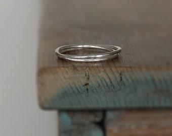 Two Band Sterling Silver Slender Interlocking Russian Wedding Ring