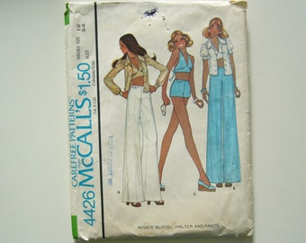 VINTAGE 1970's Sewing Pattern Blouse, Halter top and High Waisted Pants size 12