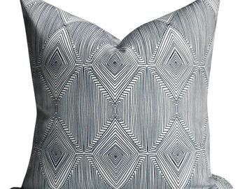 Nate Berkus Linear Diamond Design in Caspain Blue - Same Fabric BOTH Sides - INVISIBLE Zipper- 18x18, 20x20, 22x22 and lumbar sizes -
