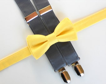 Boys bowtie and suspenders, boys first birthday outfit, bowtie and suspender set, boys photo prop, yellow and gray bowtie, toddler suspender
