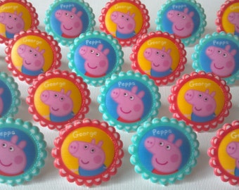 24 Peppa Pig cupcake rings picks or cake toppers birthday party treat bag favors, preschool show, peppa & george, Nick Jr.