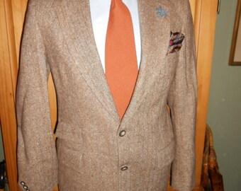 BASKIN 42L vintage men's tweed jacket blazer flecked tan wool 3 pocket front 2 button notch lapel pinstripe