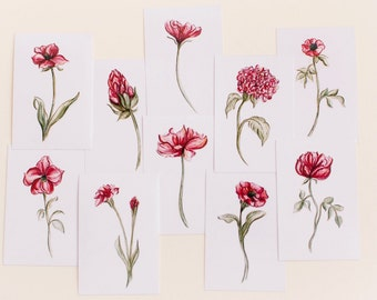 Set of 10 Botanical Red Flower Prints