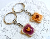 Peanut Butter and Jelly Heart Keychain Set, Grape, Best Friend's Keychains (or Phone Charms), Cute :D