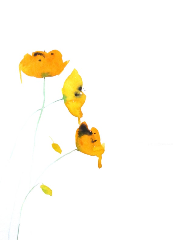 Yellow Poppies Abstract Flowers Watercolor Painting