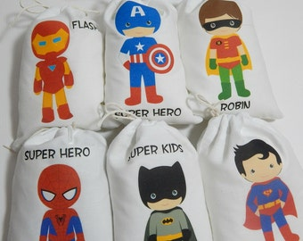 """Birthday Party Favor Bags Super Heroes group 2 For Treat's or gifts, Personalized 5"""" X 7"""" or 6"""" X 8"""" Qty 6"""