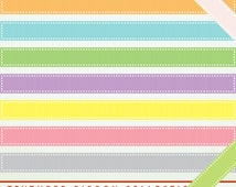 Digital Ribbons and Borders - 45 multi colored ribbons - Clip Art ClipArt Scrapbooking Commercial G7235
