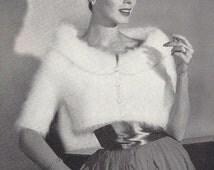 Angora Bolero • 1950s Knit Stole Jacket Pattern • Vintage 50s Knitting Cardigan Patterns • Retro Fleisher Yarns • PDF File