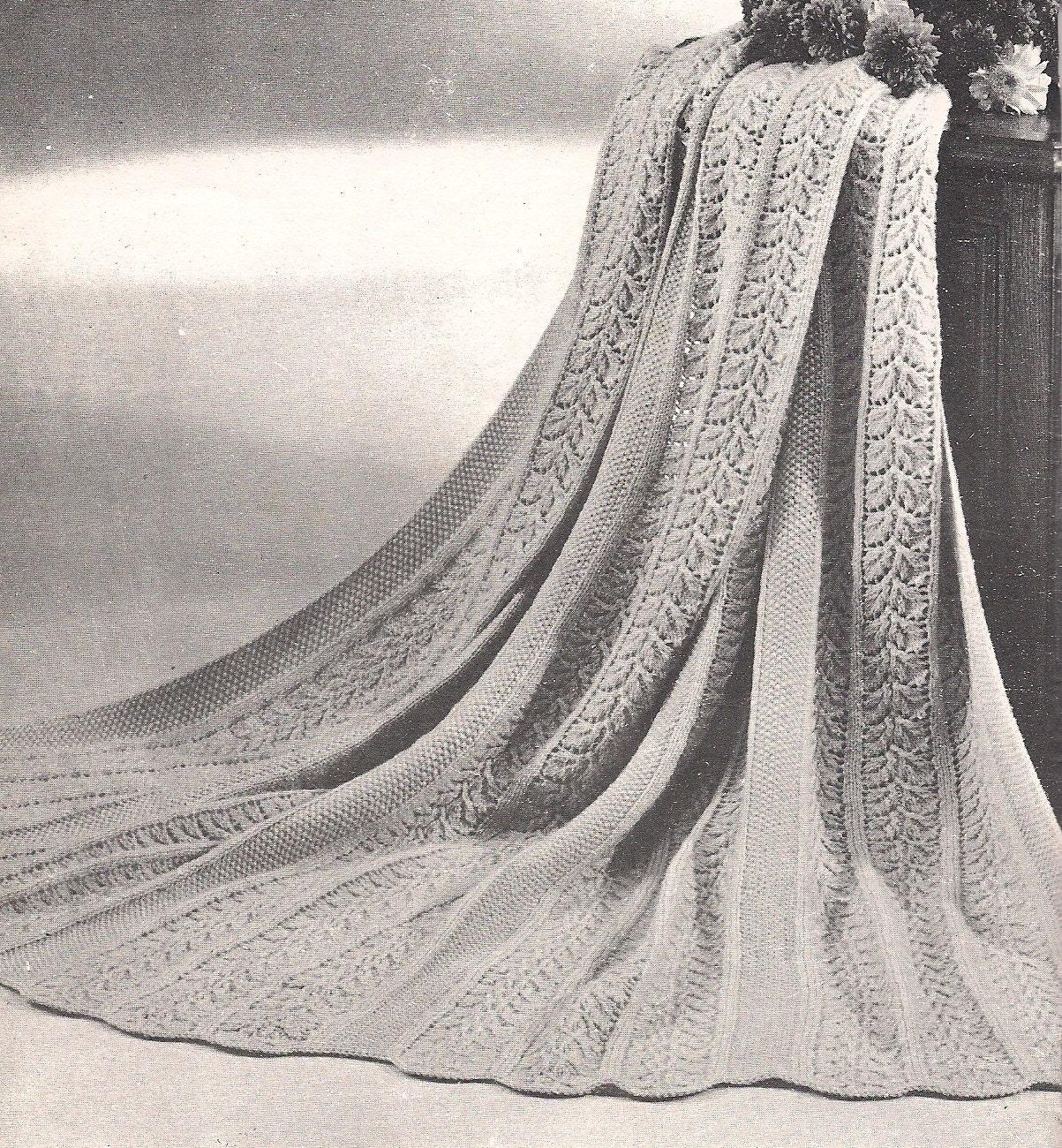 Vintage Leaf Knitting Pattern : Autumn Leaves   1960s Knit Afghan Pattern   Vintage ...