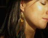 Hand made single feather earring moon goddess forets pixie burning man festival
