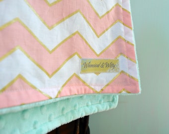 Gold Pink Chevron and Mint Baby Blanket - Perfect Carset/Stroller/Pack-n-Play Size