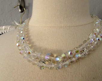 Vintage 1940s 1950s Aurora Borealis Crystal Double Strand Necklace