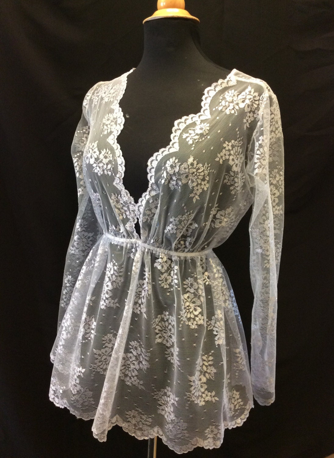 Silver grey tulle lace over top by DelltonCouture on Etsy