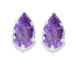 14Kt White Gold Alexandrite Pear Shape Stud Earrings