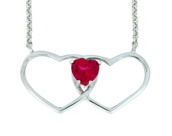 1 Ct Ruby Double Heart Pendant .925 Sterling Silver Rhodium Finish