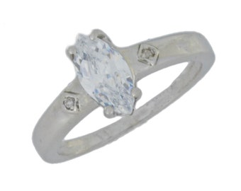 1 Ct Zirconia & Diamond Marquise Ring .925 Sterling Silver Rhodium Finish