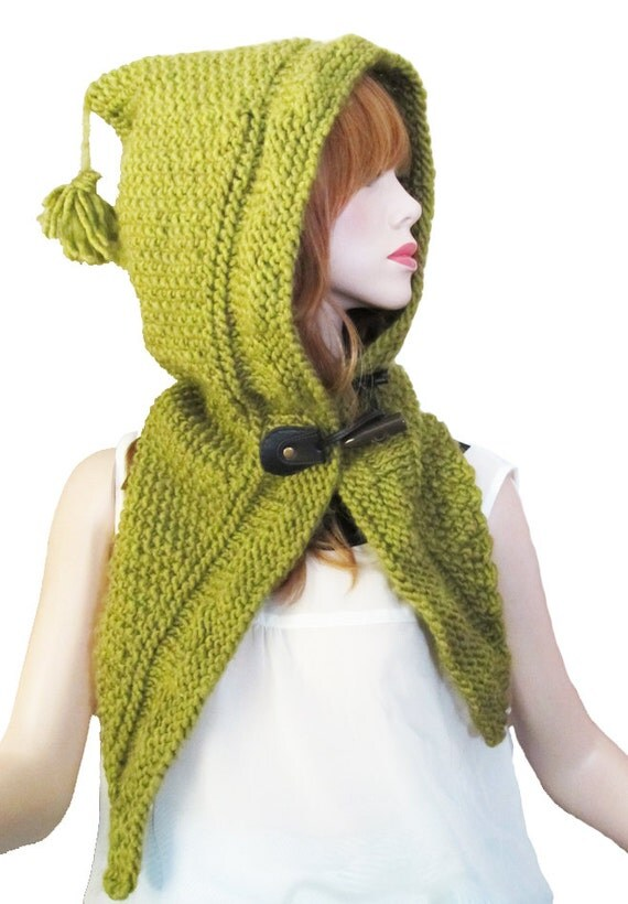 Scarf Hood Pattern / Sage Woodland Hood PDF Knitting Pattern