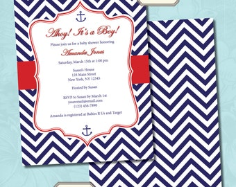 Nautical Themed Red and Navy Blue Chevron Baby Shower Invitation - Printable Digital File