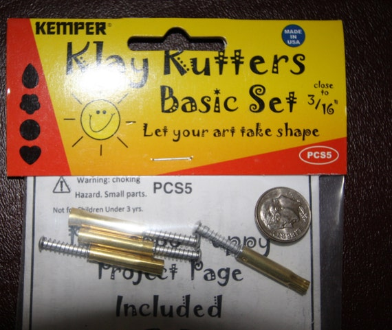 "Plunge style tiniest  cutters by Kemper Klay Kutters 3/16""  1 each: circle, flower, teardrop, & heart"