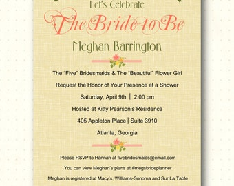 Bridal Shower Invitation, yellow, linen, flowery, modern, elegant, bridal luncheon, wedding, vow renewal, digital, printable, invite BW1455