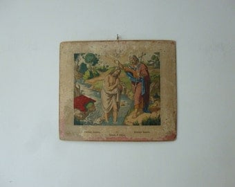 5 day delivery worldwide - Antique Bible New Testament Scene Chart - The Baptism of Jesus Wall Hanging Lithograph - 1906