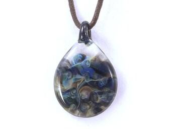 ANDROMEDA Wearable Art borosilicate glass pendant on vegan necklace  Free Shipping