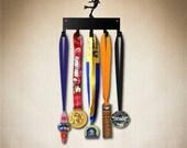 figure skater medal hanger,medal holder, medal display 5 hook ( holds 5-15+ medals) gear, jackets etc. Larger 10 hook size available.
