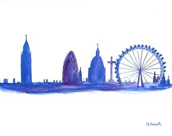 SALE London skyline original watercolour painting, London art London panorama London painting 12 x 9 inch Father'sday gift idea