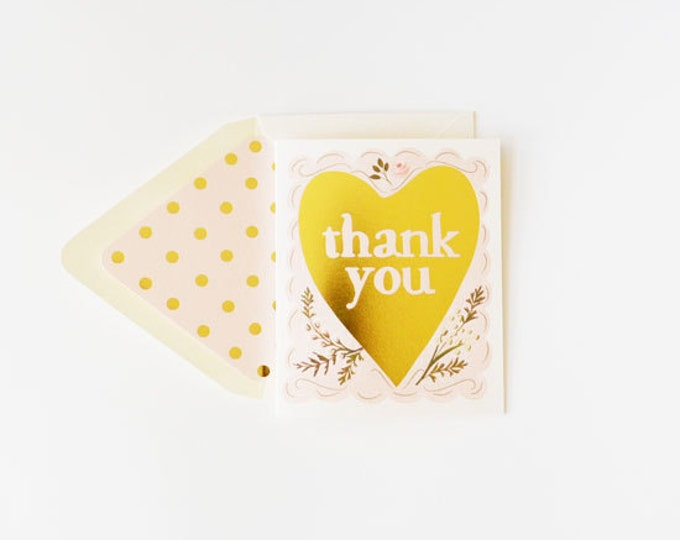 Thank You Card with Gold Foil Heart