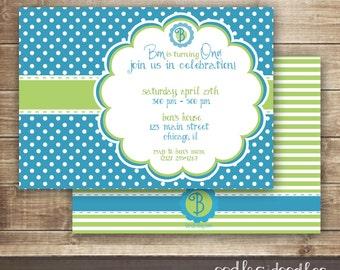 Monogram Invitation, Boy's Birthday, Blue and Lime Green Party, Polka Dots, First Birthday Invitation, Printable digital file or Printed