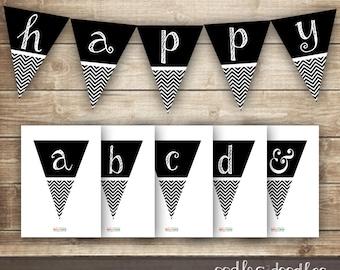 Chevron Banner / Black & White Printable Pennant Banner, bunting / diy A-Z banner, Create your Own / INSTANT DOWNLOAD  - Printable