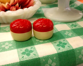 Small Vintage Plastic Red & Ivory Cabbage Rose Salt and Pepper Shakers