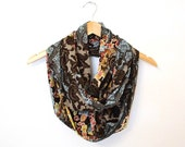 Paisley Scarf, Paisley Infinity Scarf, Fall Infinity Scarf, Brown and Blue Scarf, Circle Scarf