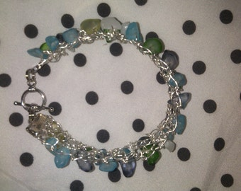 Multi-color Green and Blue Hand-Knit Wire Bracelet