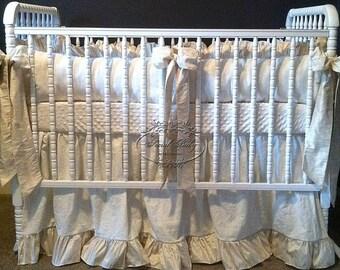 3 Piece Gender Neutral Crib Bedding in Silk and Linen