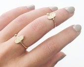Hamsa Ring Duo - set of 2 gold filled adjustable rings