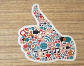 Colorful Icons Emojis Symbols Thumbs Up Clear Sticker, 100% Waterproof Vinyl Sticker, Pop Culture Clear Sticker