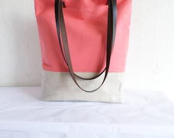 Salmon pink tote bag, spring tote bag, dark salmon tote bag, linen and cotton tote bag