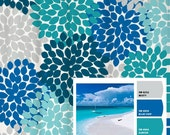 Shower Curtain in Blue and Gray Beach Inspired Floral Standard and Long Lengths 70, 74, 78, 84, 88, or 96 in. Let's make one in your colors!